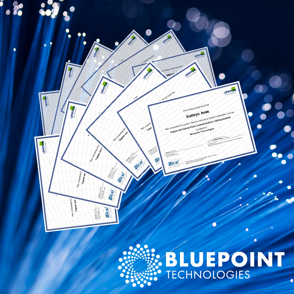 Certificates_showing_Leviton_Certification_of_Bluepoint_Technologies_team